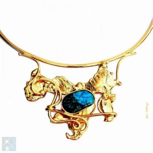 Collier artisanal unique avec agate bleue, pierre véritable