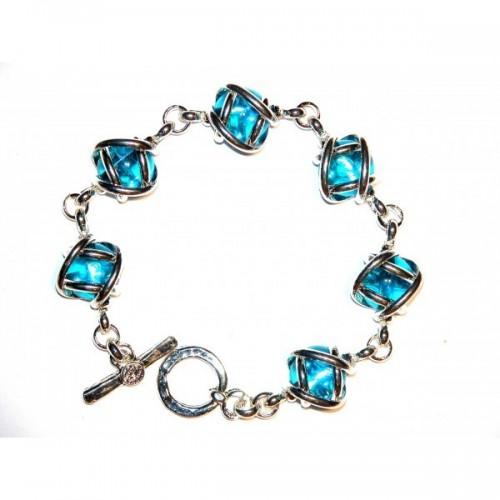 Bracelet argent six cabochons en verre