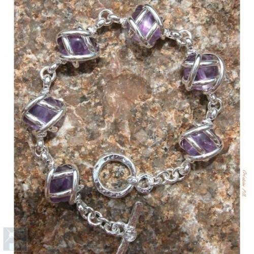 Bracelet argenté monture pierres véritables