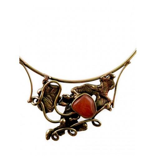 Collier d'artiste-bronze et cornaline