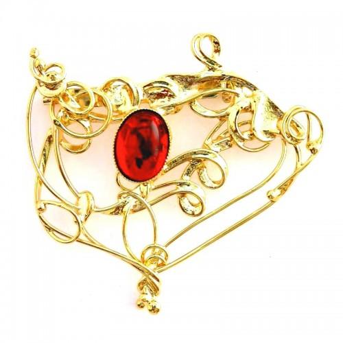 Broche d'art-bijou d'artiste or et rouge