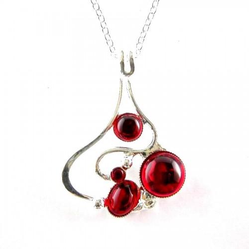 Pendentif unique argent et rouge rubis-bijou artisanal