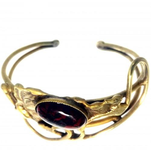 Bijou artisanal-bracelet bronze avec pierre véritable