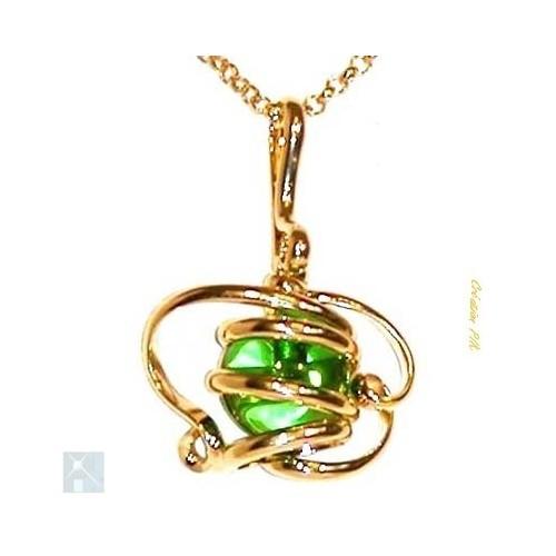 Magnifique petit pendentif doré, bijou artisanal français