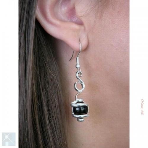 Boucles d'oreilles de création artisanale, argent.