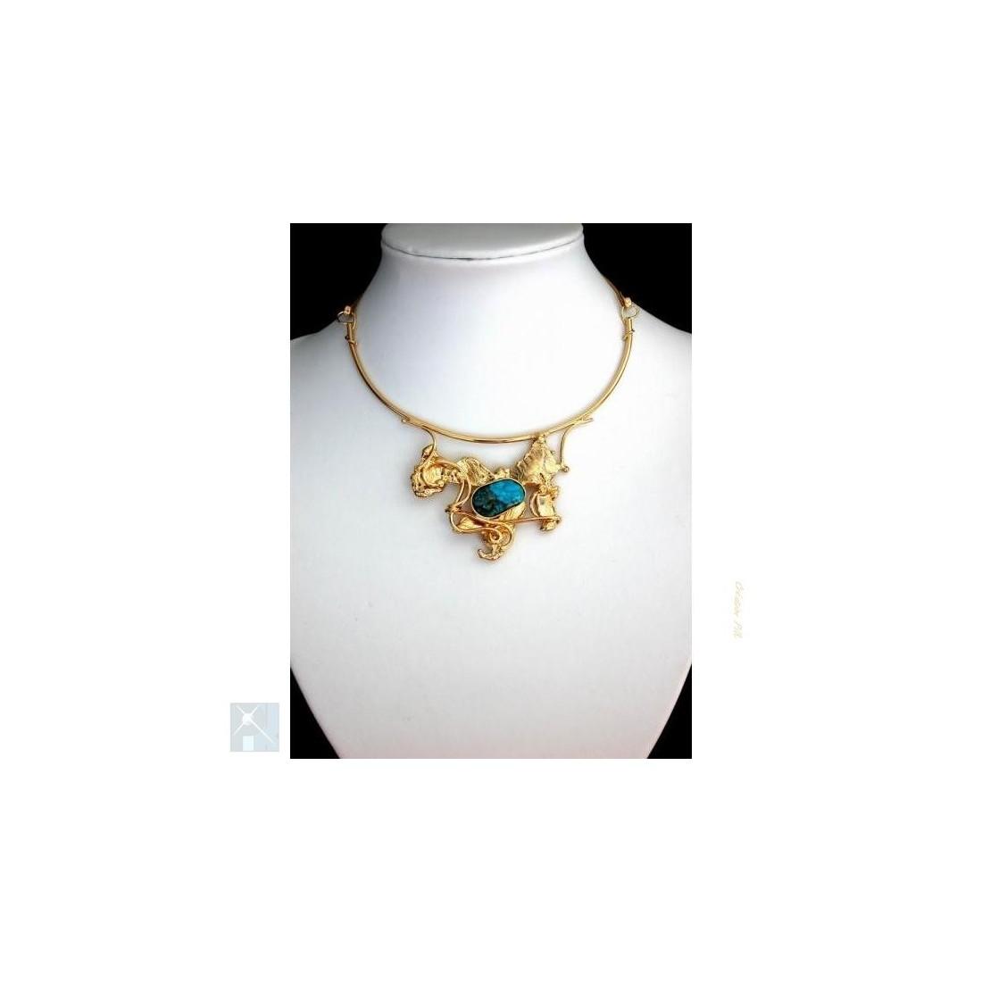 Collier unique avec agate bleu, création artisanale.