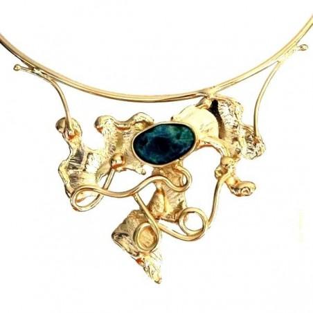 Magnifique collier artisanal avec agate bleue, fait main en France