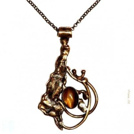 Pendentif baroque couleur bronze, bijou fantaisie, création raffiné