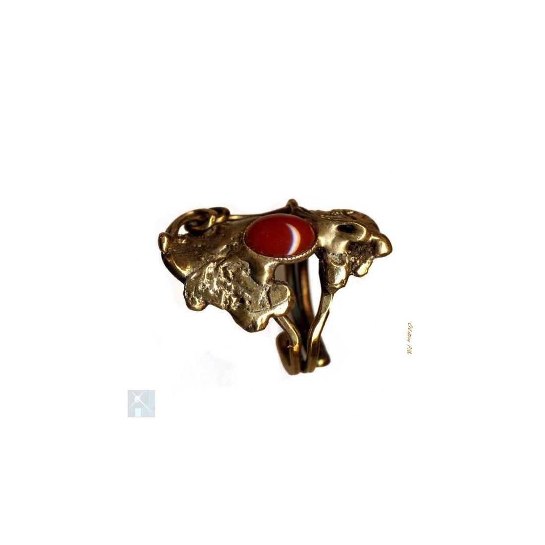 Bague bronze de créateur avec la cornaline.