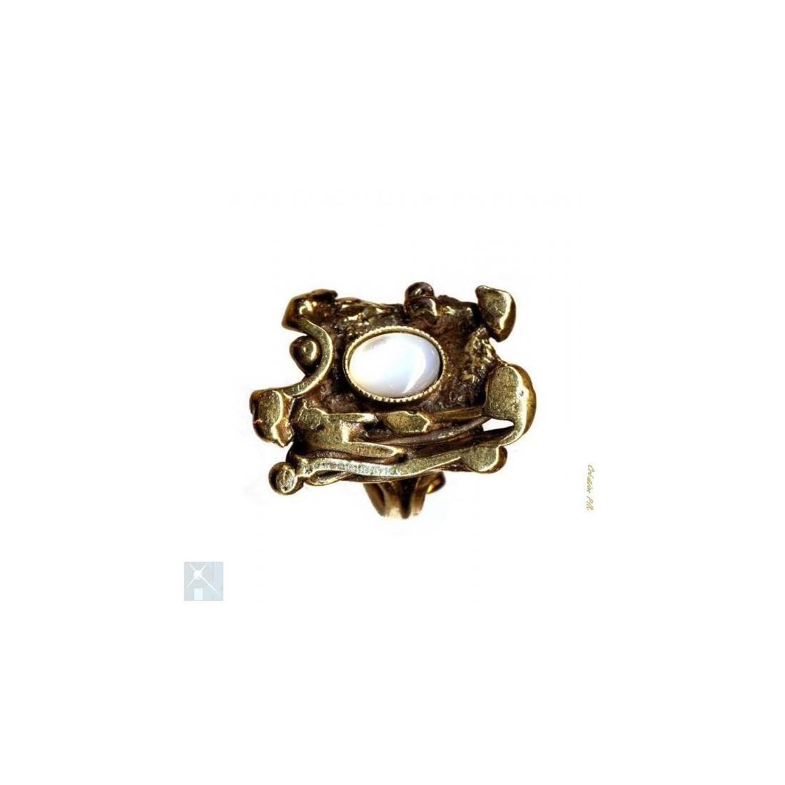 Bague artisanale plaqué bronze.