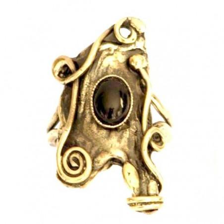 Bague fantaisie de couleur bronze avec une pierre semi-précieuse, l'onyx.