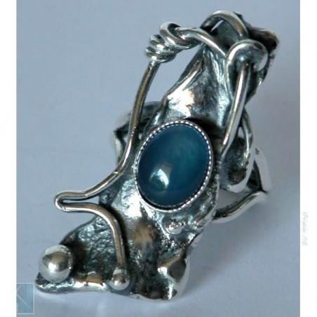 Bague argent, avec une agate bleue, création artisanale.