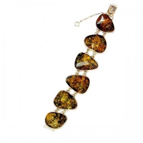 Bracelet argent avec l'ambre véritable en forme de gouttes