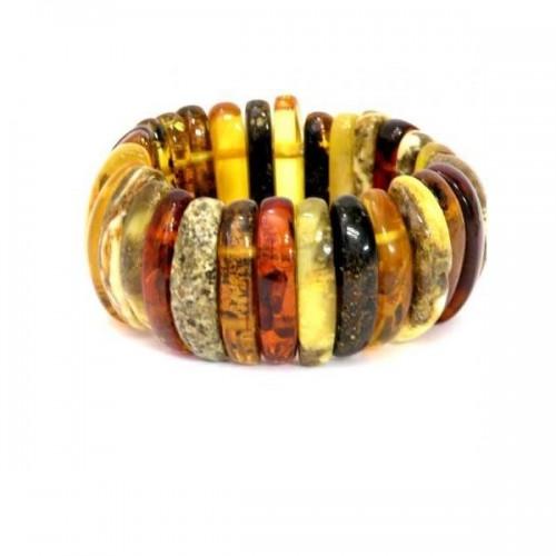 Bracelet en lamelles d'ambre multicolore