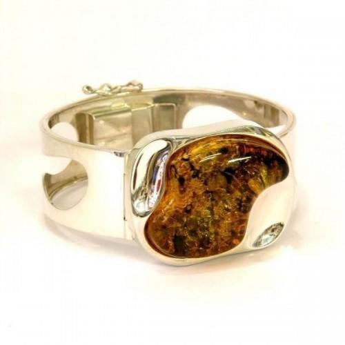 Bracelet en argent avec grand cabochon d'ambre