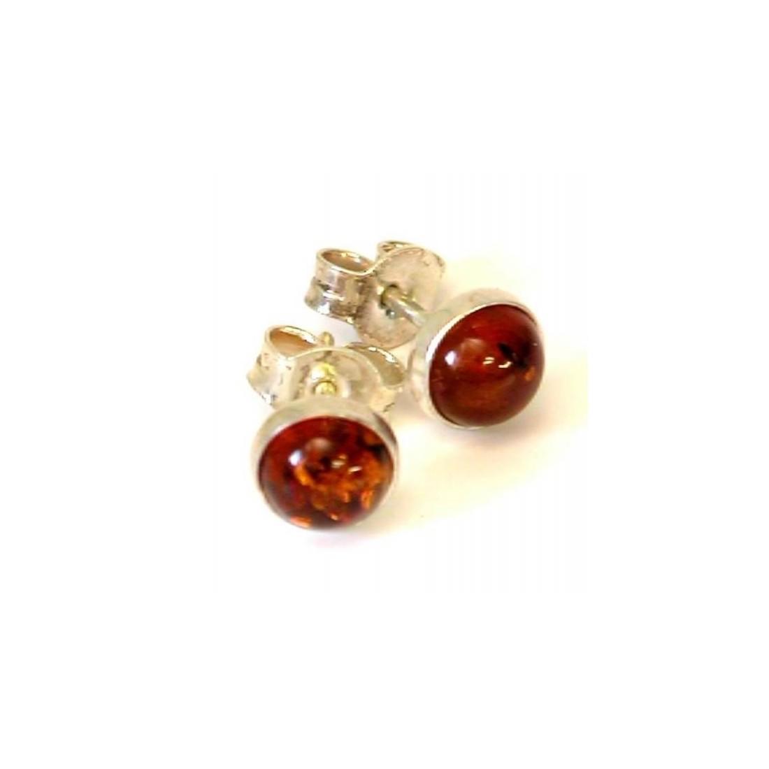 Boucles d'oreilles argent avec l'ambre