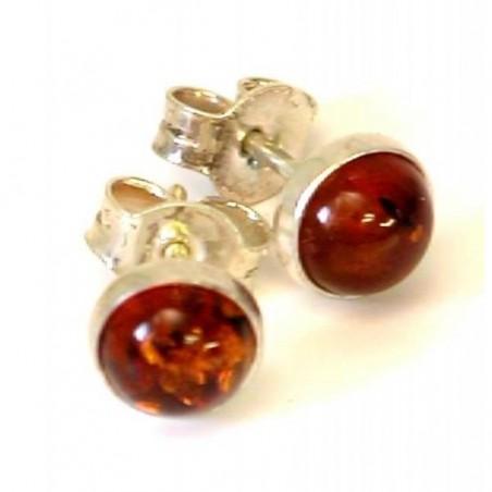 Boucles d'oreilles argent avec l'ambre véritable