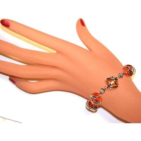 Bracelet argent avec des pierres de couleur orange et topaze, Bijou fait main.