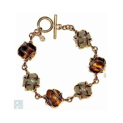 Bracelet artisanal souple avec l'aventurine et l'oeil de tigre.