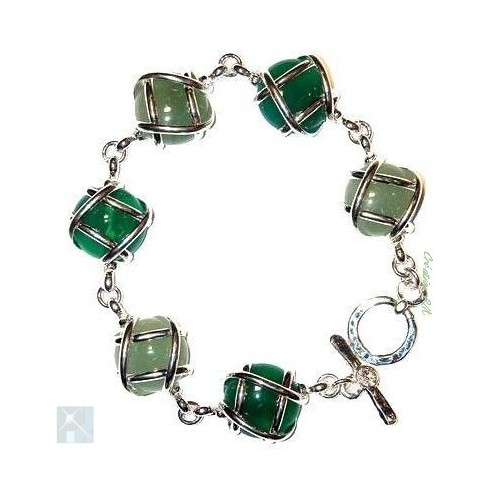 Bracelet multicolore avec des pierres fines, agate verte et aventurine.