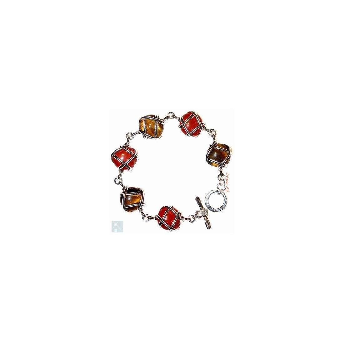 Bracelet multicolore avec des pierres fines : jaspe rouge et l'oeil de tigre.