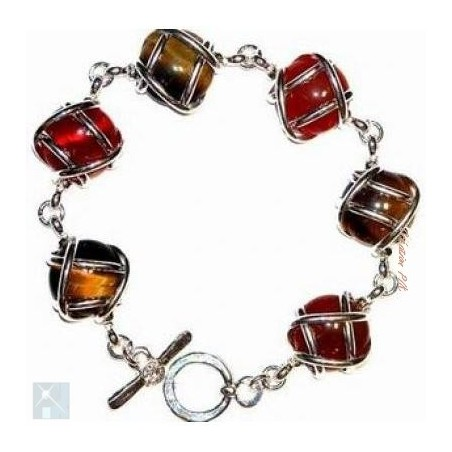 Bracelet multicolore avec des pierres fines, l'oeil de tigre et la cornaline.