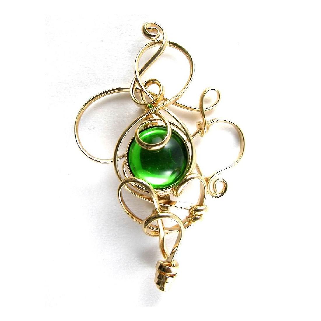Broche de créateur de couleur vert foncé