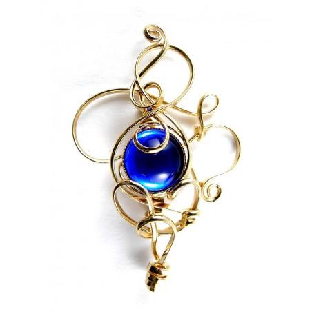 Broche d'Atelier PIK de couleur saphir, bijou artisanal, fait main.
