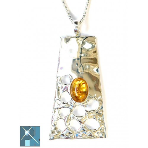 Bijoux, artisanaux avec des pierres fines, pendentif fantaisie en laiton plaqué argent avec ambre