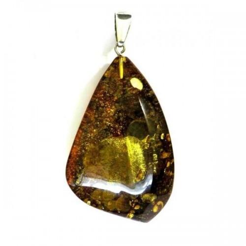 Bijou argent, pendentif unique avec ambre vert