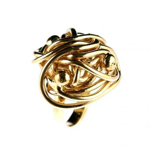Bague artisanale plaqué or, bijou fait main