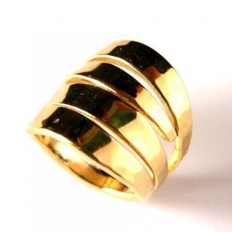 Bague plaquée or, large et ajourée, création artisanale