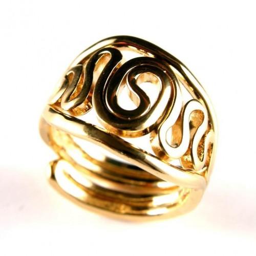 Bague réglable plaquée or, création artisanale