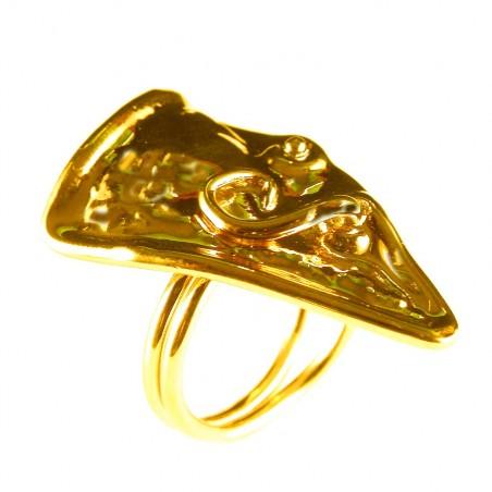Bague artisanale plaquée or, bijou fait main
