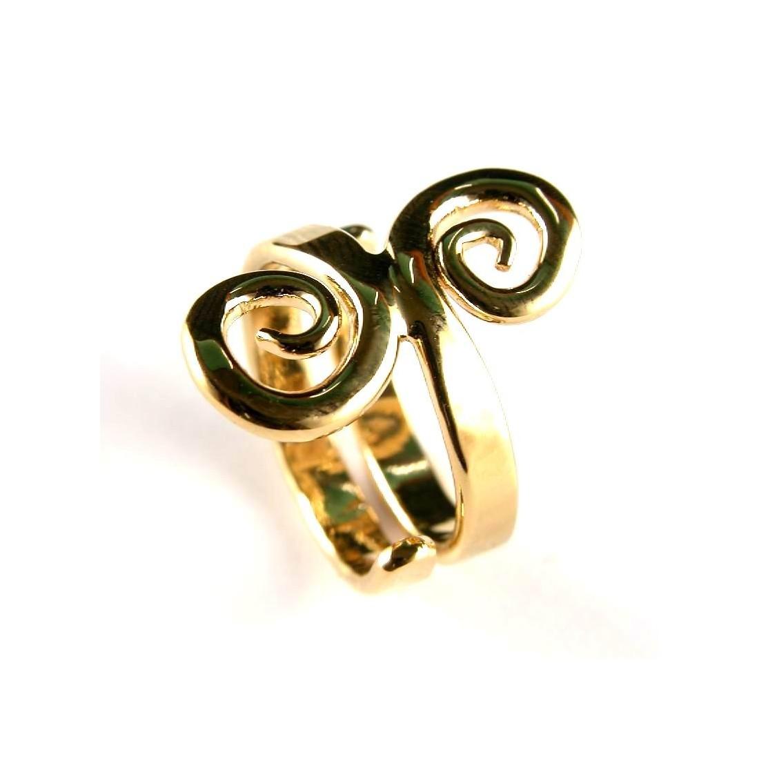 Bague fantaisie plaquée or en forme de deux spirales