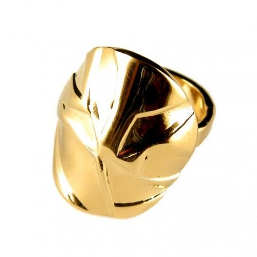 Bague plaquée or, réglable, pièce de créateur