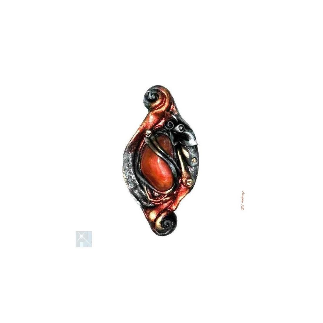 Jolie broche aux tons de bronze et cuivre
