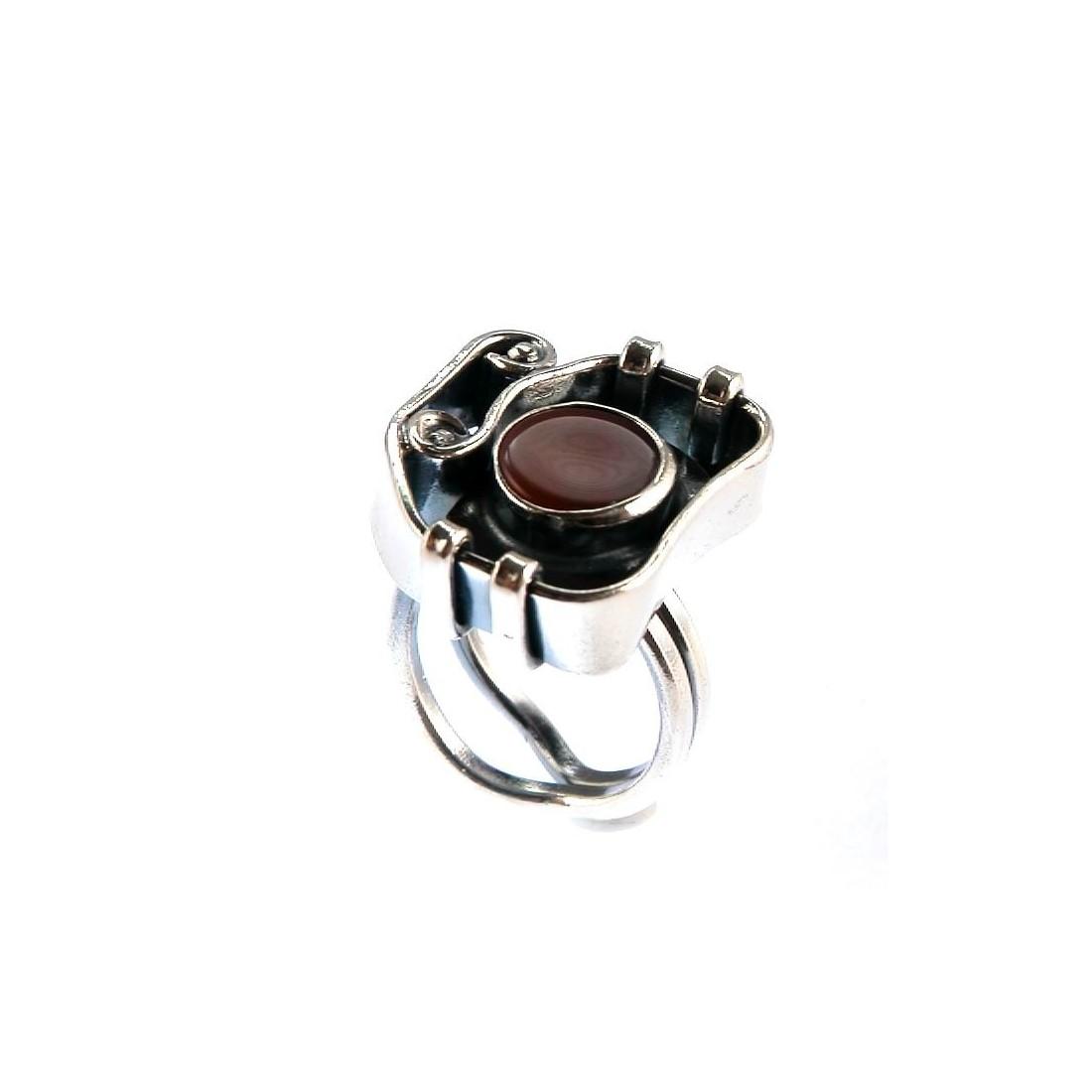 Bague artisanale avec la cornaline, bijou artisanale