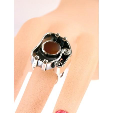 Bague artisanale avec la cornaline, bijou fantaisie-Atelier PIK