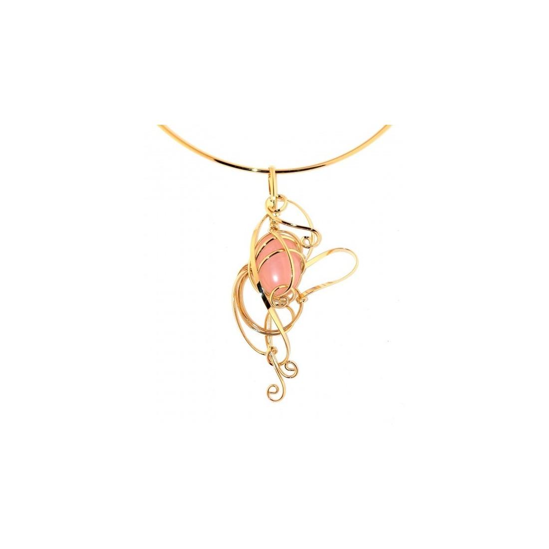 Collier doré avec une pierre véritable, bijou made in France