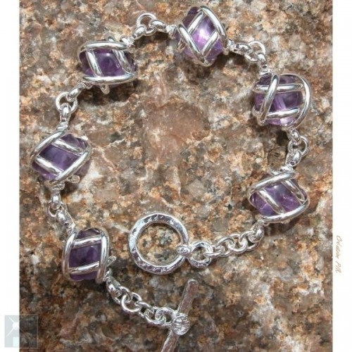 Bracelet argenté monture en pierres véritables améthystes