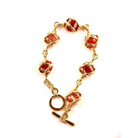 Bracelet doré six pierres véritable couleur unie-cornalines