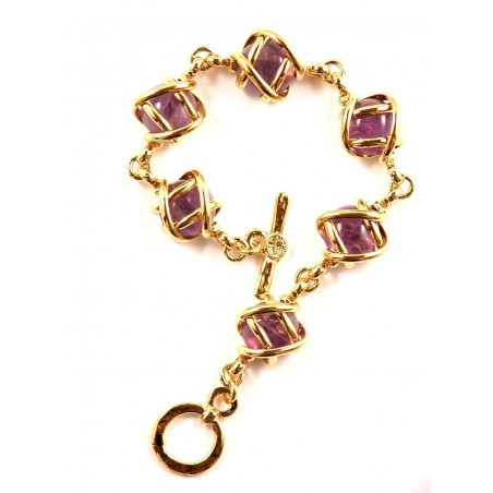 Bracelet doré six pierres véritable-améthystes