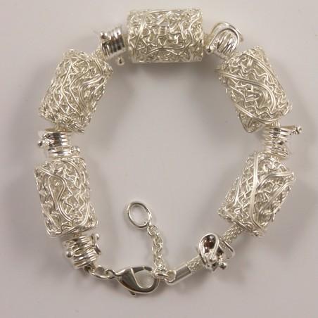 Bracelet argenté cylindres en fil-made in France