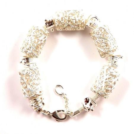 Bracelet fantaisie cylindres en fil