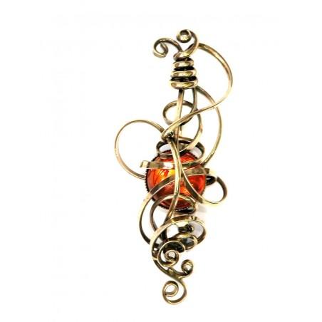 Broche, couleur bronze et orange-Création PIK