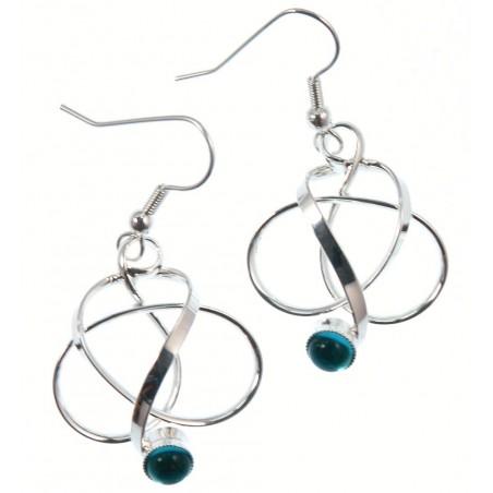 Boucles d'oreilles argent pierre bleue claire