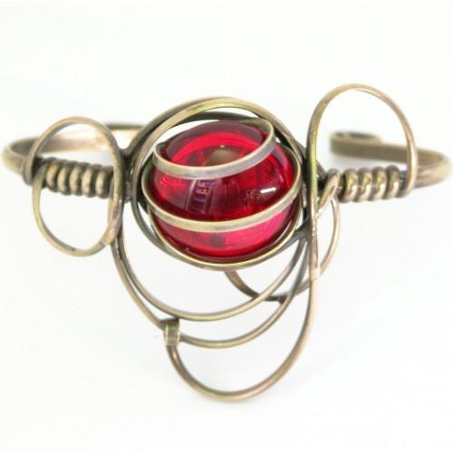 Bracelet rigide fait à la main-bijou fantaisie en bronze.