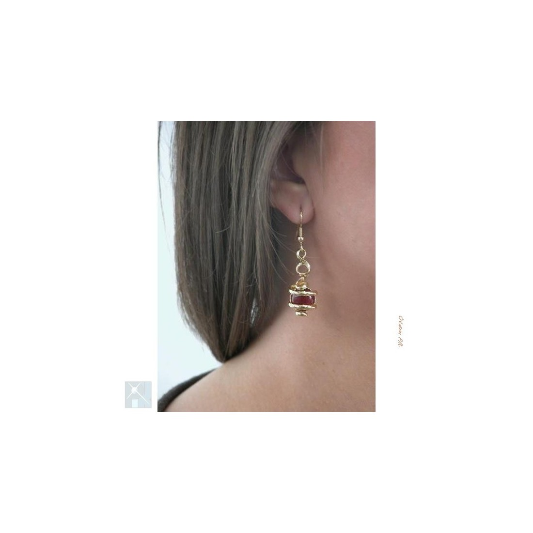 Boucles d'oreilles artisanales avec les  cornalines.