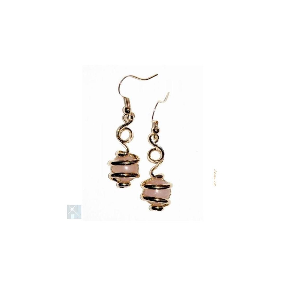 Boucles d'oreilles dorées, pierres véritables quartz rose